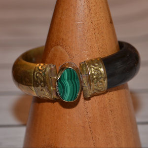 vintage African bangle bracelet malachite gem